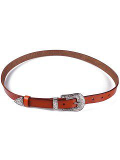Retro Carve Pin Buckle Belt - Light Brown