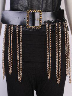 Chains Tassel Wide Belt - Black