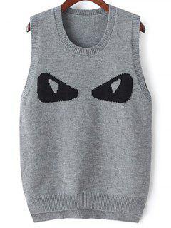 Eye Jacquard Sweater Vest - Gris Foncé