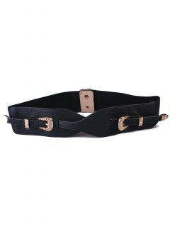 Double Pin Buckles Elastic Wide Belt - Black