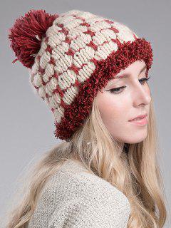Block Design Knitted Beanie - Brick-red