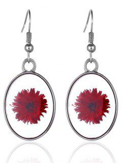 Oval Dry Blossom Glass Earrings - Silver