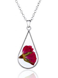 Glass Dry Flower Water Drop Necklace - Silver
