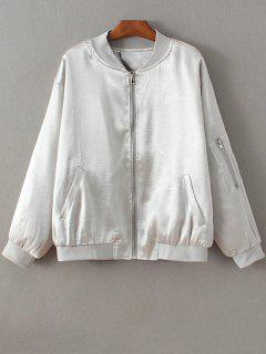 Fitted Zipped Bomber Jacket - Silver White L