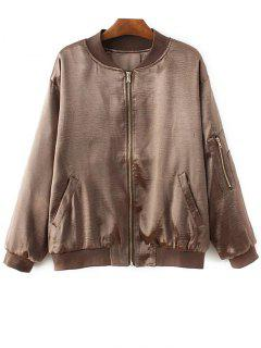 Fitted Zipped Bomber Jacket - Gold Brown S