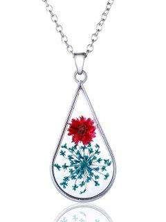 Water Drop Dry Floral Glass Necklace - Silver
