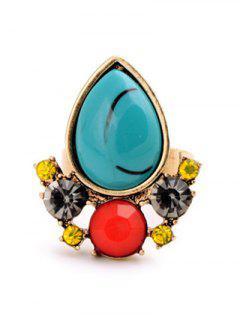 Faux Gem Teardrop Ring - Golden One-size