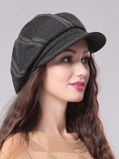 Stripe Design Newsboy Cap - Black Grey