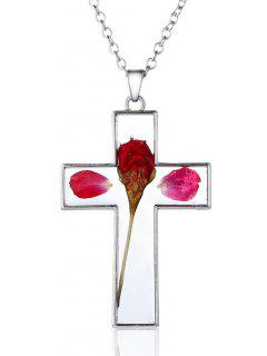 Glass Dry Floral Cross Pendant Necklace - Silver