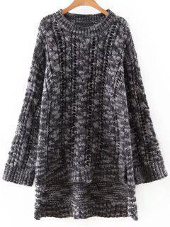 Hem Accidenté Chunky Sweater - Blanc Et Noir L