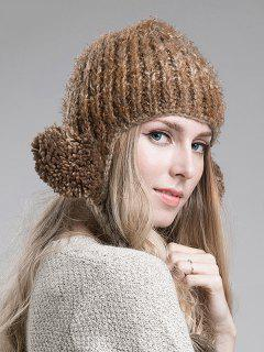 Woolen Yarn Ball Knitted Beanie - Coffee
