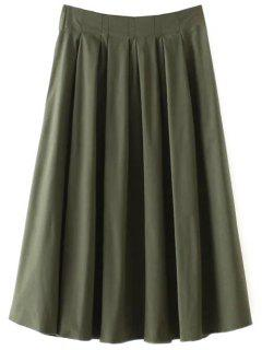 A Line Midi Skirt - Army Green S