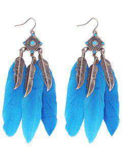 Geometric Alloy Leaf Feather Drop Earrings - Blue
