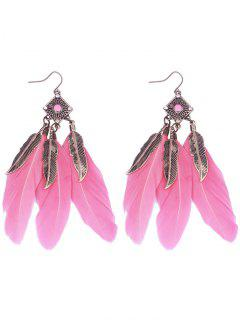 Geometric Alloy Leaf Feather Drop Earrings - Pink
