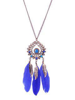 Collar De La Pluma De La Gota Del Agua Del Rhinestone De La Hoja - Azul