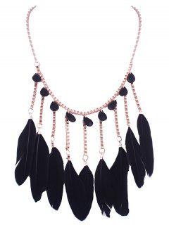 Artificial Crystal Feather Water Drop Necklace - Black