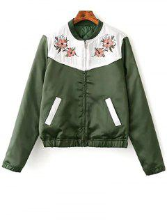 Quilted Embroidered Thermal Jacket - Green S