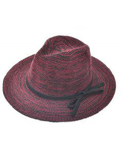 Bowknot Lace-Up Jazz Hat - Wine Red