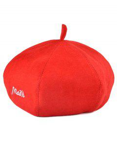 Broderie Faux Suede Painter Beret - Rouge