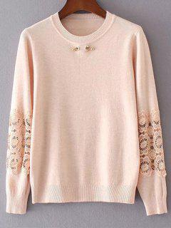 Dentelle Spliced ​​Sweater - Rose Clair