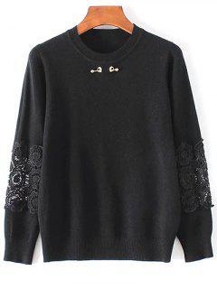 Dentelle Spliced Sweater - Noir