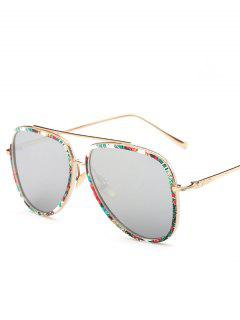 Tropical Plant Pilot Sunglasses - Silver