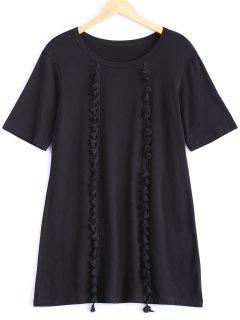 Tassels Half Sleeve T-Shirt Dress - Black S