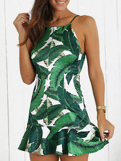 Camisole Ruffles Palm Print Dress - White And Green