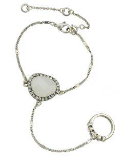 Faux Opal Rhinestone Bracelet With Ring - Silver