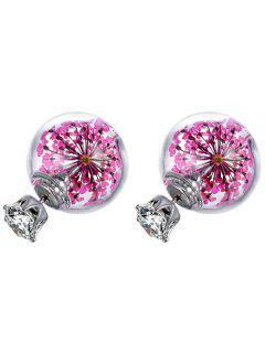 Rhinestone Ball Glass Dry Sakura Earrings - Pink