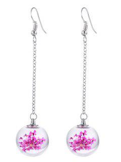 Glass Dry Sakura Drop Ball Earrings - Pink