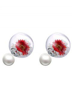 Artificial Pearl Dry Floral Glass Earrings - Red