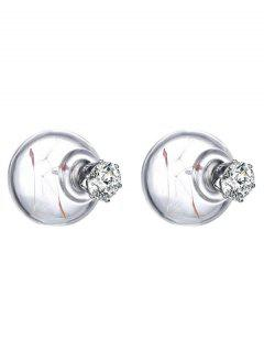 Rhinestone Glass Dry Dandelion Ball Earrings - White