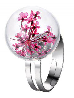 Glass Dry Flower Ball Ring - Pink One-size