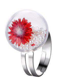 Faux Pearl Dry Flower Glass Ring - Red One-size