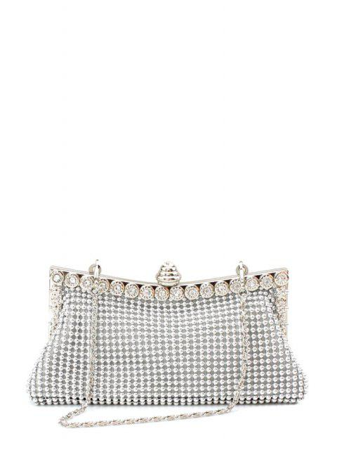 new Metal Trimmed Rhinestone Evening Bag - SILVER  Mobile