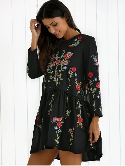 outfit Floral Embroidered Drop Waist Dress - BLACK S Mobile
