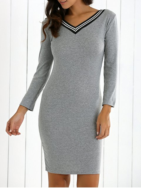 sale V-Neck Bodycon Sweater Dress - GRAY S Mobile
