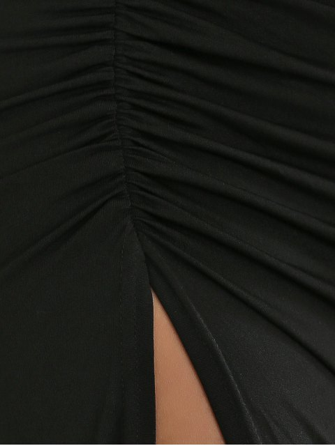ladies Ruched Asymmetric Evening Dress - BLACK L Mobile