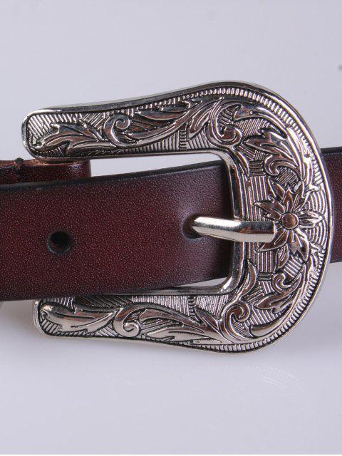 women's Retro Carve Pin Buckle Belt - COFFEE  Mobile