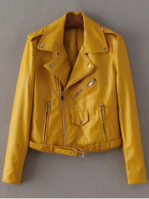 women's Lapel Collar Zippers Faux Leather Jacket - YELLOW L Mobile