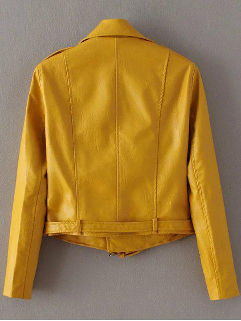 ladies Lapel Collar Zippers Faux Leather Jacket - YELLOW M Mobile
