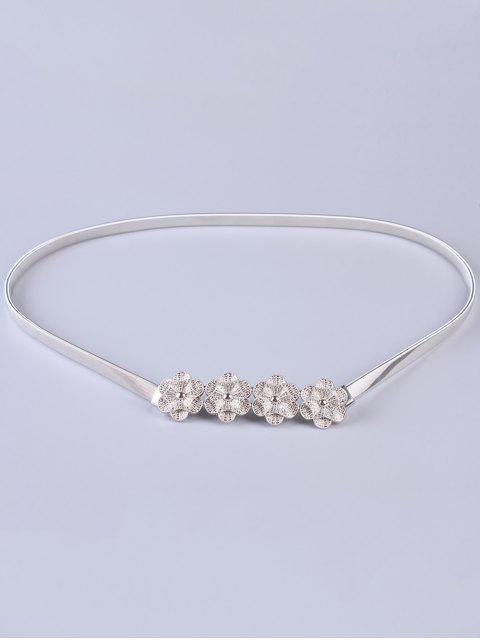 Blumen Elastischer Dünner Gürtel - Silber  Mobile