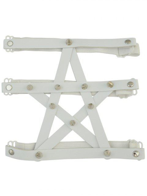 outfits Pentagram Faux Leather Leg Chain - WHITE  Mobile