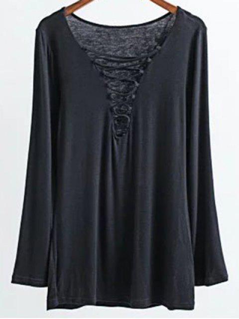 T-Shirt à col plogeant à lacets - Noir M Mobile