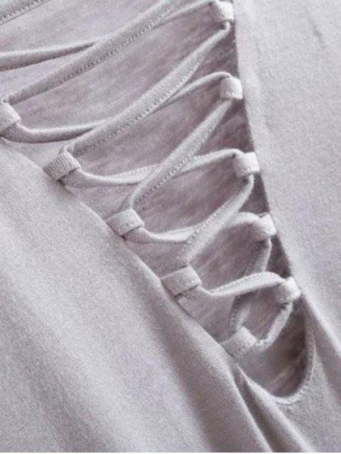 women Long Sleeves Lace Up T-Shirt - GRAY M Mobile