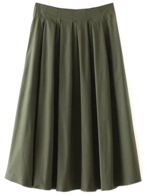 lady A Line Midi Skirt - ARMY GREEN L Mobile