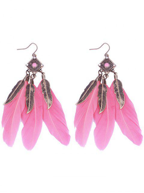 ladies Geometric Alloy Leaf Feather Drop Earrings - PINK  Mobile