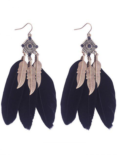 lady Geometric Alloy Leaf Feather Drop Earrings - BLACK  Mobile