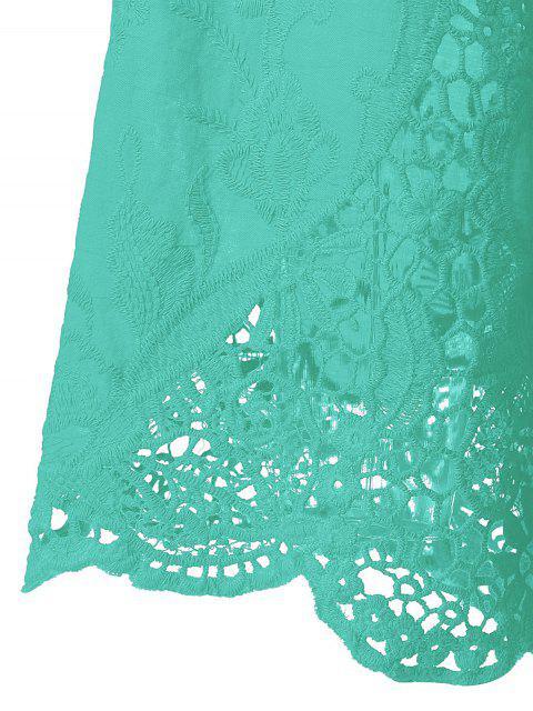 Blouse à manches évasées avec décoration dentelle - Vert Menthe 3XL Mobile